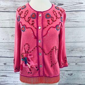 Cowgirl pink hearts fringe beaded rhinestone